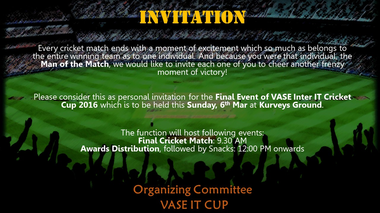 Invitation For Corporate Cricket Tournament: An Inter IT Cricket Tournament